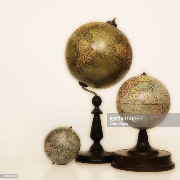 Three desk globes