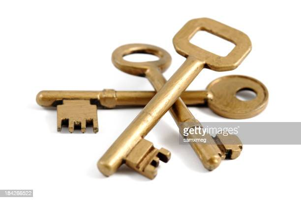 Three different sized gold keys