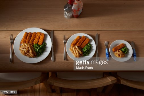 three different sized portions of food on plate : Stock Photo