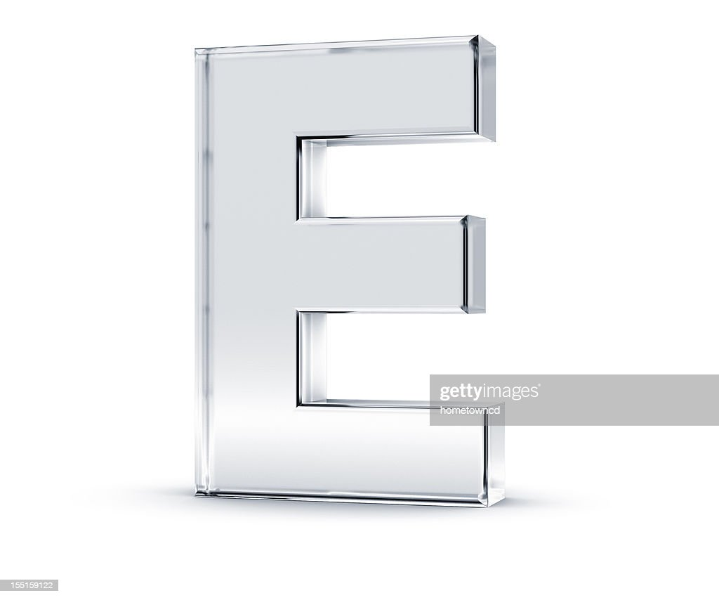 Three dimensional letter E on white background