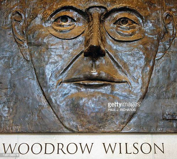 A three dimentional Congressionallyauthorized memorial bas relief of former US President Woodrow Wilson by artist Leonard Baskin is seen hanging on...