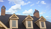 Three Dormers and Two Chimneys on Residential Roof