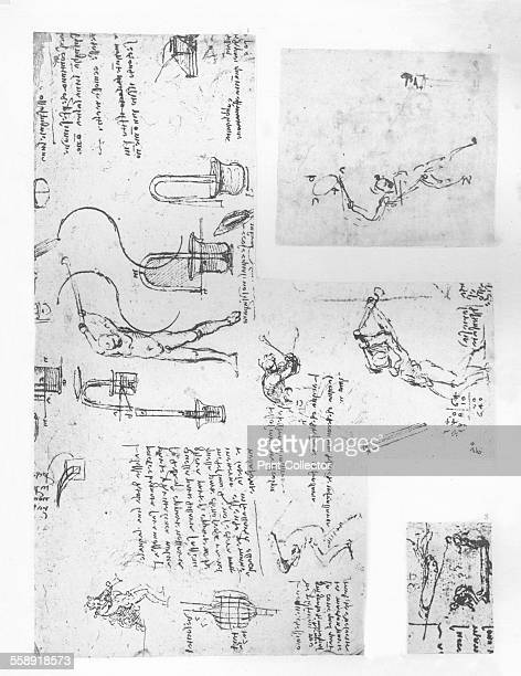 Three drawings illustrating the theory of the movements of the human figure c1472c1519 From The Literary Works of Leonardo Da Vinci Vol 1 by Jean...
