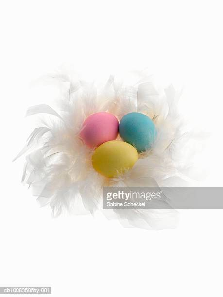 Three easter eggs on white feathers