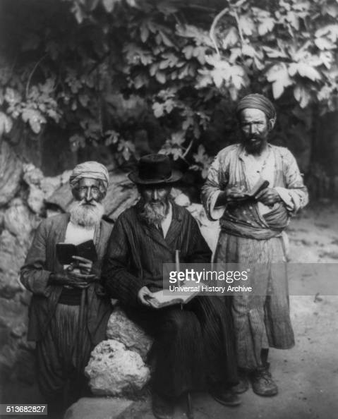 Three elderly men holding books a group of old Jews in an American Colony Jerusalem