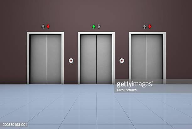 Three elevators in lobby (digital)