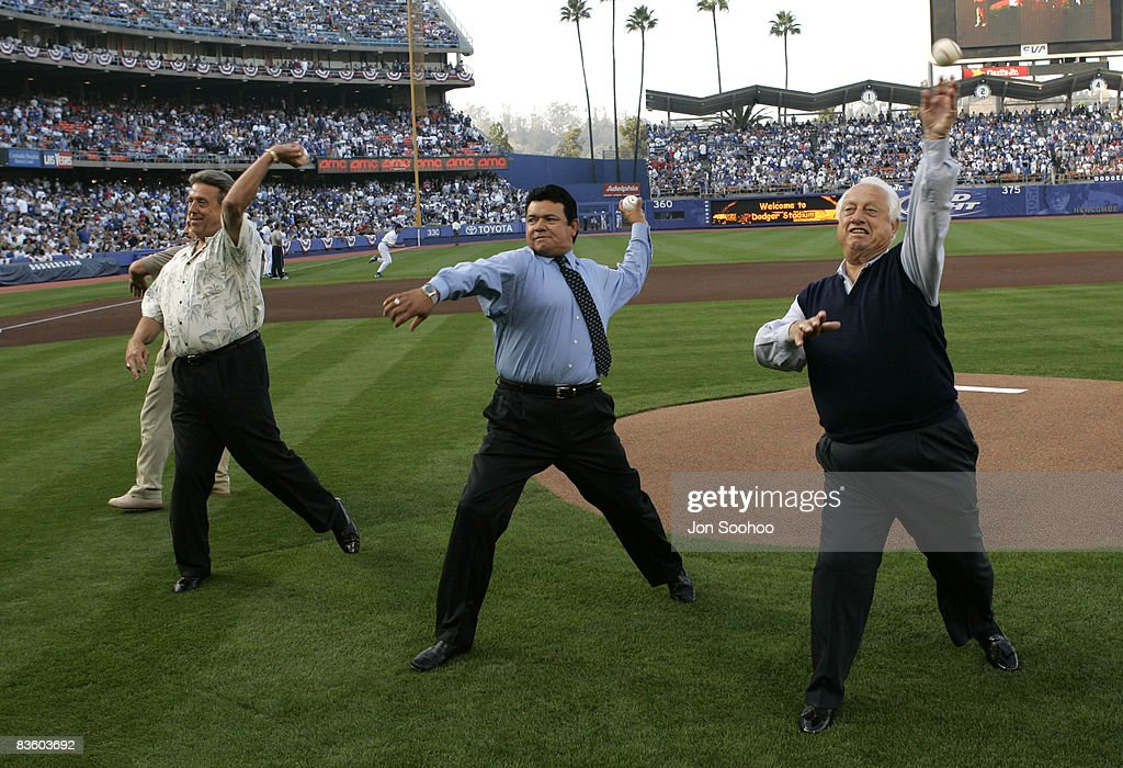 Three embers of the 1981 Los Angeles Dodgers World Championship team, Ron Cey, Rick Monday and Fernando Valenzuela, along with manager Tommy Lasorda, throw out the first pitch prior to St.Louis Cardinals vs Los Angeles Dodgers at Dodger Stadium in Los Angeles, California. The Dodgers shut out the Cardinals 4-0 on Dodgers starting pitcher Jose Lima's complete game.