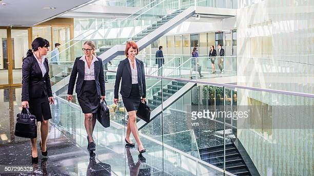 Three female manager going to business meeting