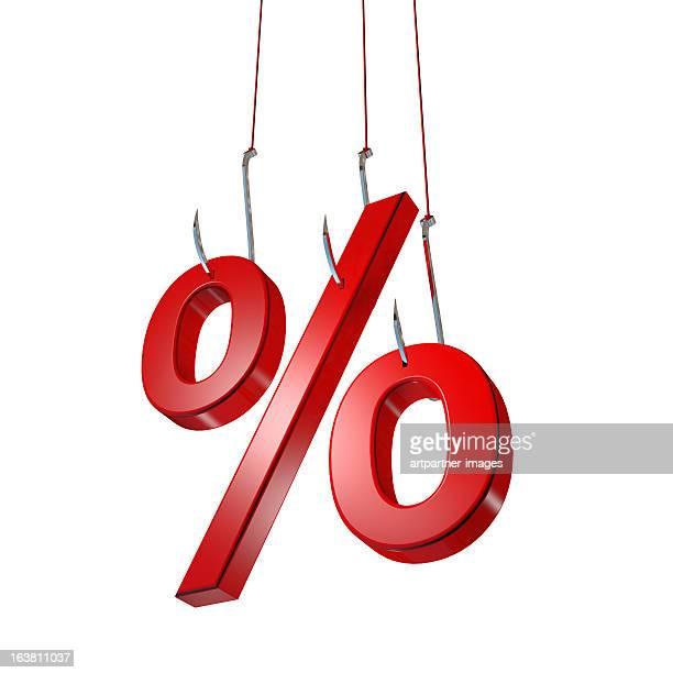 Three fishing hooks catch a percentage sign