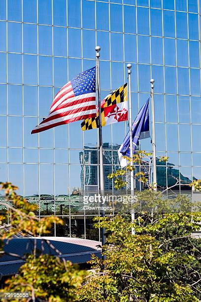 Three flags fluttering in front of a building, Baltimore, Maryland, USA