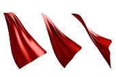 Three flowing style red cape hero isolated on white background . with clipping path . 3D rendering .