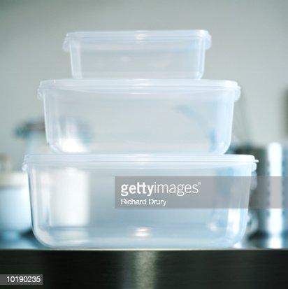 Three food storage boxes, close-up