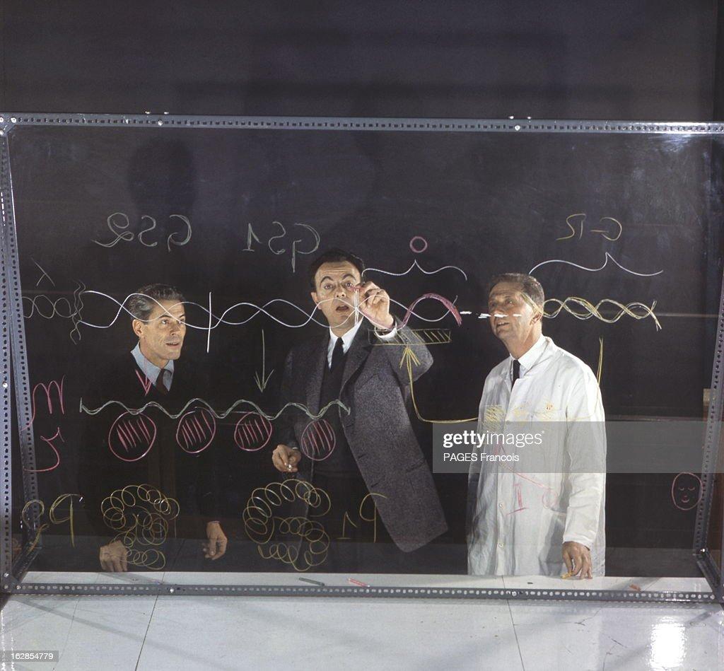 Three French Nobel Prize For Medicine 1966. André LWOFF, François JACOB et Jacques MONOD dessinant pour Paris Match le schéma de la régulation cellulaire sur un panneau transparent.