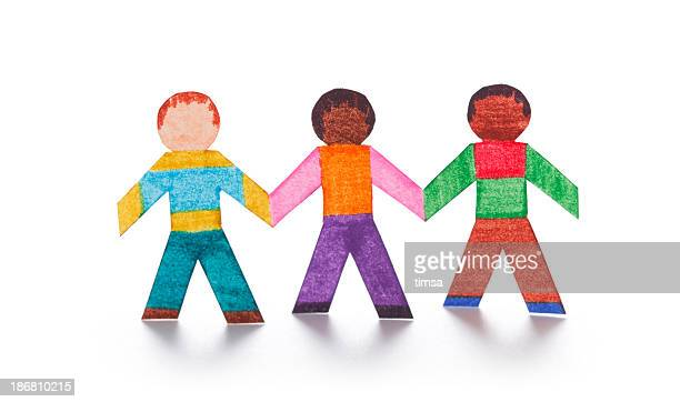 Three friends as paper cutouts
