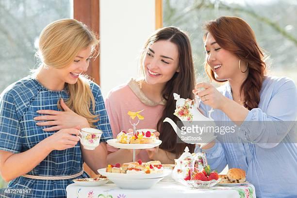Three Friends Having Afternoon Tea