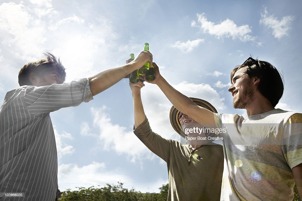 Three friends making a toast in the park : Stock Photo