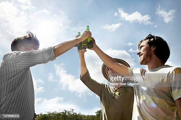 Three friends making a toast in the park