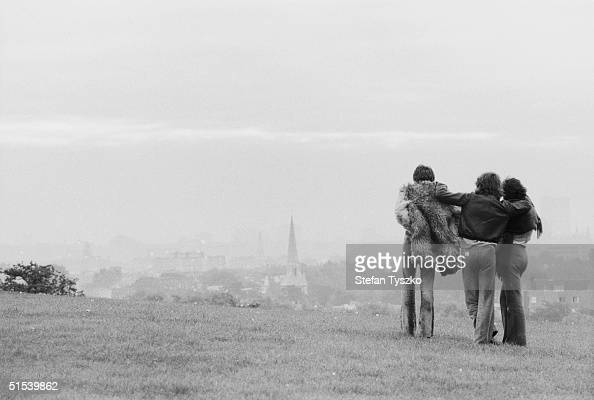 Three friends take in the view from London's Primrose Hill 7th October 1968