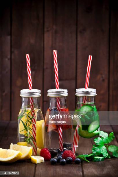 Three fruits and vegetables infused water detox drinks
