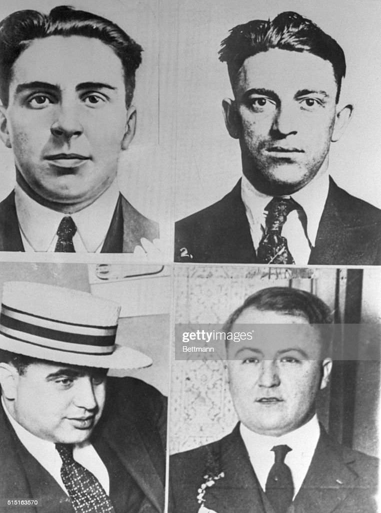 One Who Still Lives Through Chicago Warfare. Chicago: (1) Vincent Drucci; (2) Hymie Weiss; (3) <a gi-track='captionPersonalityLinkClicked' href=/galleries/search?phrase=Al+Capone&family=editorial&specificpeople=93051 ng-click='$event.stopPropagation()'>Al Capone</a>; (4) Dion O'Banion. Of these four leaders of Chicago gangs, only Capone is alive. The other three were executed when they had reached the top of gangs, by rival racketeers. The death of six racketeers at the hands of a rival gang today brings to mind the shooting to death of these former rulers of gangdom, and <a gi-track='captionPersonalityLinkClicked' href=/galleries/search?phrase=Al+Capone&family=editorial&specificpeople=93051 ng-click='$event.stopPropagation()'>Al Capone</a>'s rather charmed existence, although he is always protected by a heavy guard, amply armed. Police have construed today's gang murders as an outgrowth of the Chicago beer war.