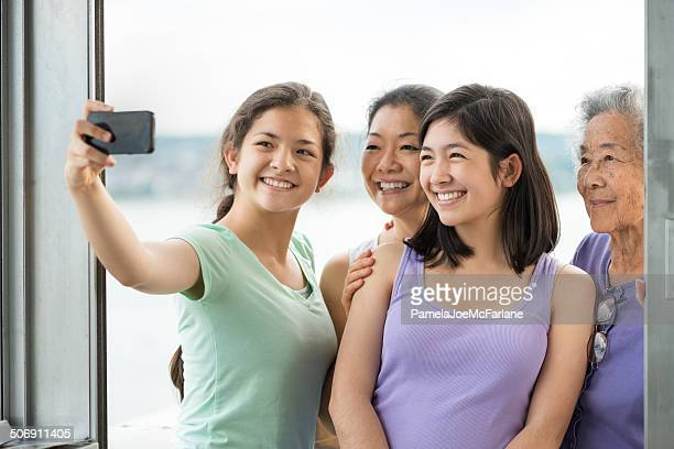 Three Generation Asian Female Family Posing for Selfie