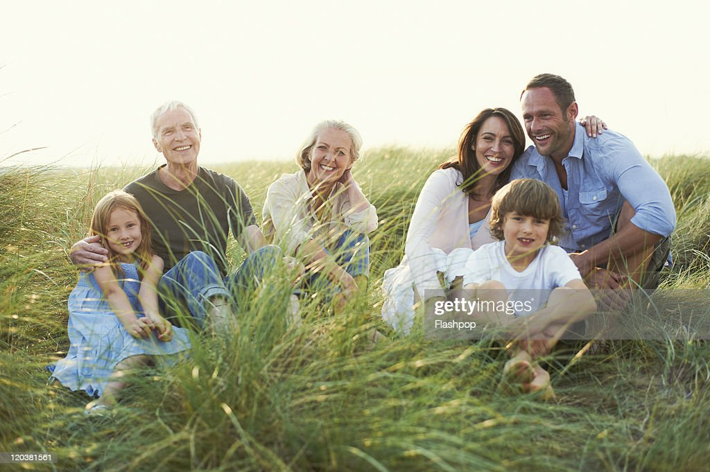 Three generation family enjoying day out together : Stock Photo