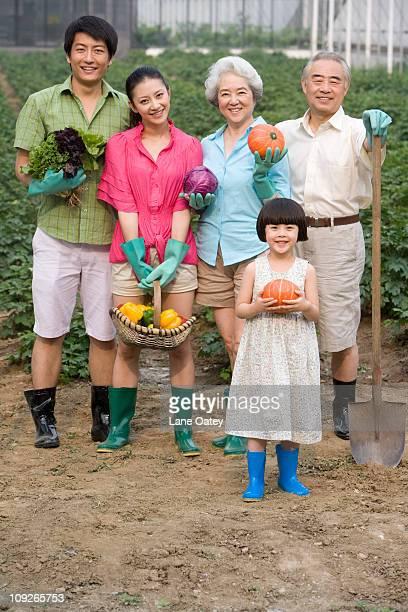 Three generation family in the garden