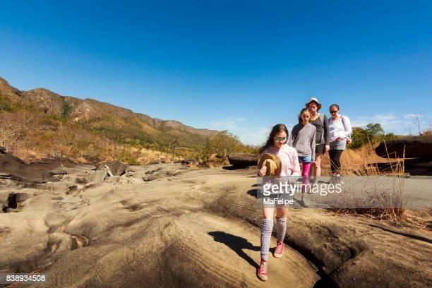 Three generation family walking on Vale da Lua