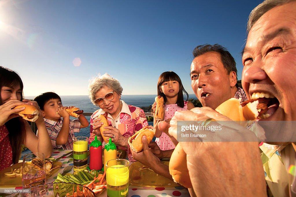 Three generational family eating hotdogs outdoors : Stock Photo