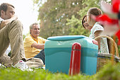 'Three generational family picnicking in park, low angle view'