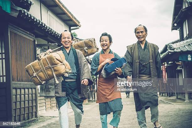 Three Generations Happy Japanese Peasants Walking, Edo Period, Kyoto, Japan