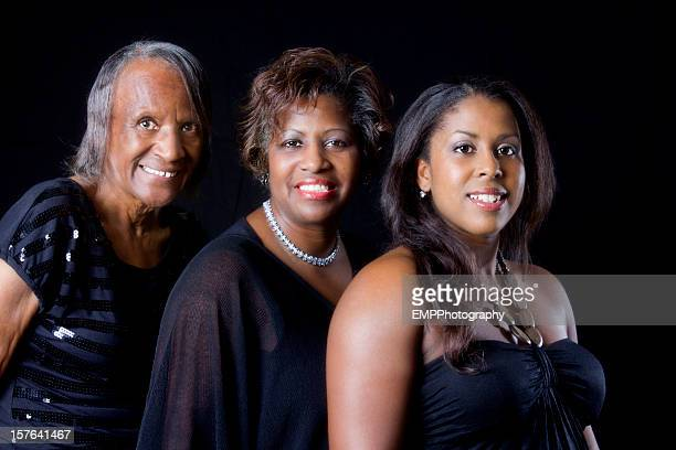 Three Generations of African American Women Isolated on Black