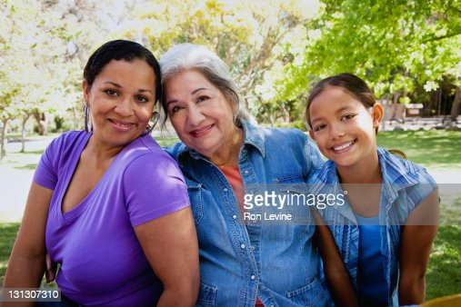 Three generations of hispanic women, portrait : Stock Photo