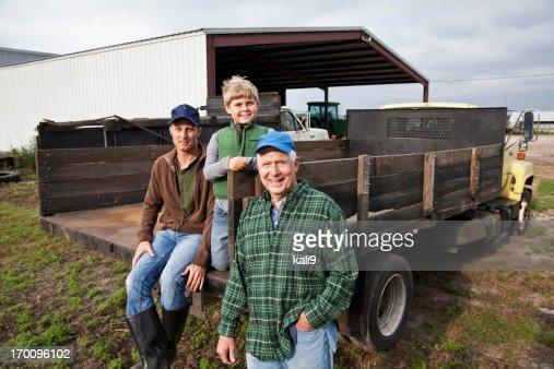 Three generations of men on the family farm