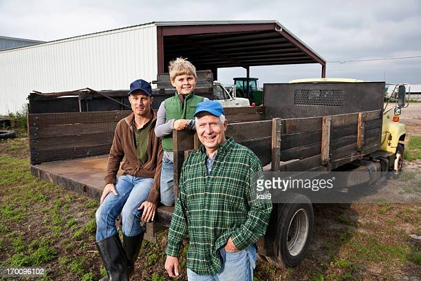 Three generations of men on the family farm