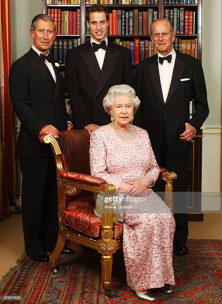 Three generations of the British Royal family - Queen Elizabeth II, Prince Philip, Duke of Edinburgh, Charles, Prince of Wales and Prince William pose for a photograph at Clarence House before a dinner to mark the 50th anniversary of the Queen's Coronation on June 2, 2003 in London, England.