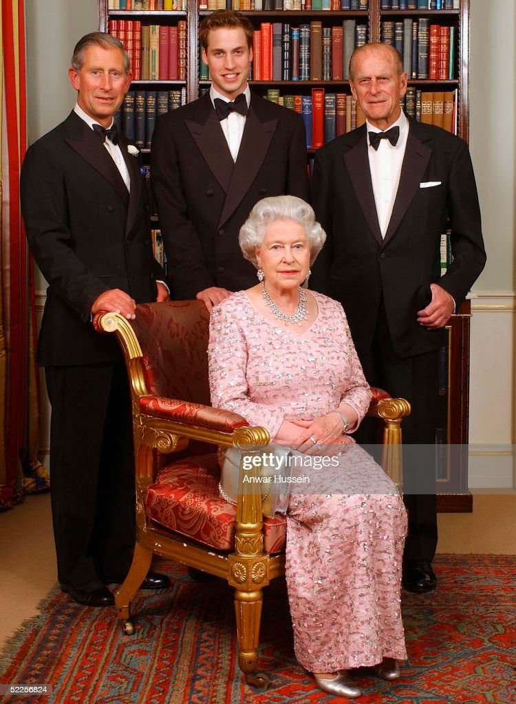 Three generations of the British Royal family - Queen Elizabeth II sits in front of (L-R) the Prince of Wales, Prince William and the Duke of Edinuburgh as they pose for a photograph at Clarence House before a dinner to mark the 50th anniversary of her Coronation on June 2, 2003 in London, England.