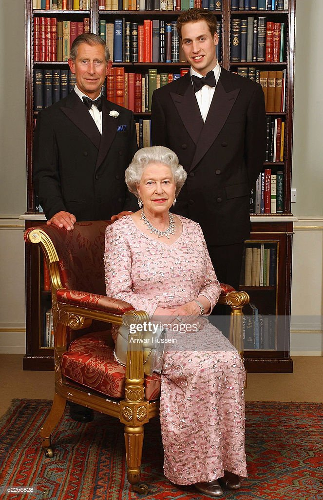 Three generations of the British Royal family - Queen Elizabeth II sits in front of the Prince of Wales and Prince William as they pose for a photograph at Clarence House before a dinner to mark the 50th anniversary of her Coronation on June 2, 2003 in London, England.