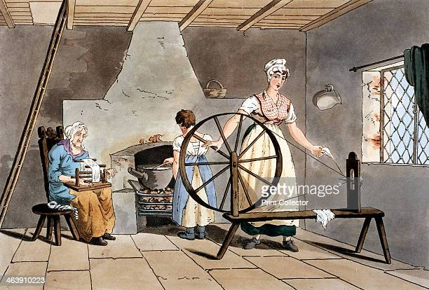 Three generations of women 1814 A cottager is spinning wool using a simple wheel without treadle while her mother reels yarn Her daughter stirs a...
