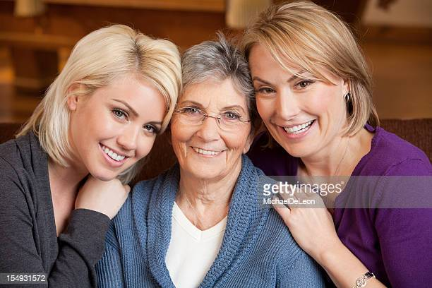 Three generations of women grandmother, mother and daughter