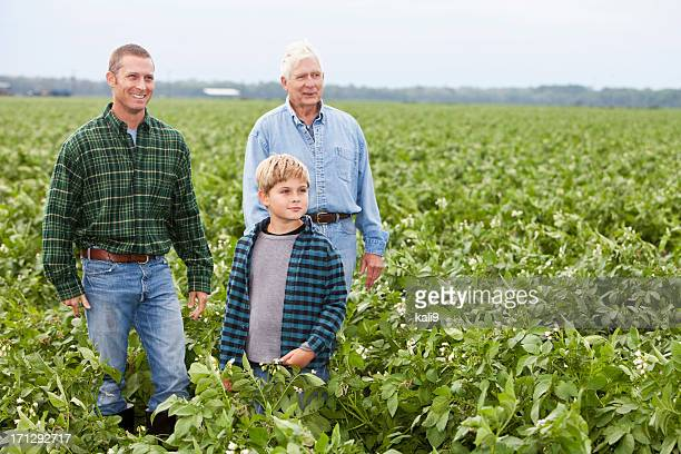 Three generations on the family farm standing in crop field