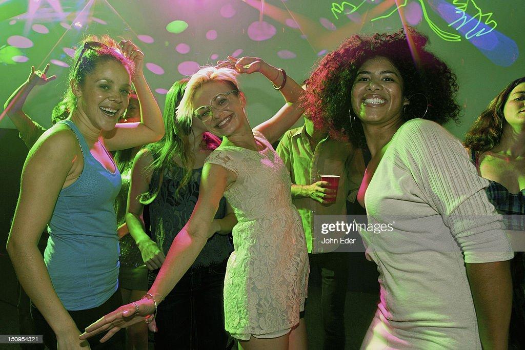 Three Girls In A Club : Stock Photo