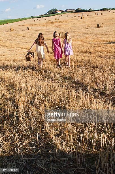 Tre ragazze a piedi nel campo