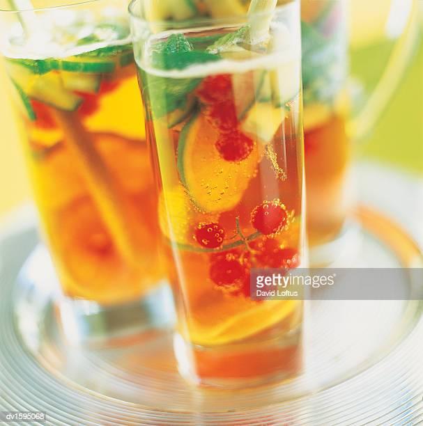 Three Glasses Full of Iced Tea