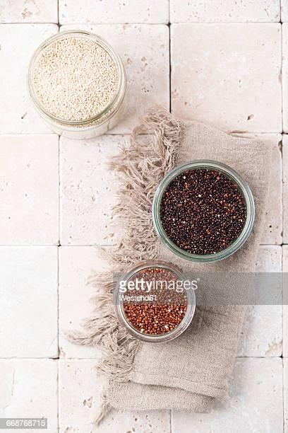 Three glasses of different quinoa