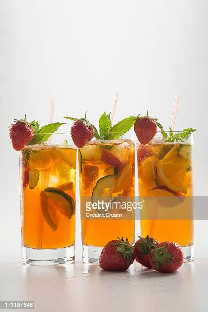 Three glasses of refreshing fruit punch drink