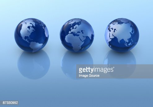 Three globes in a row : Stock Photo
