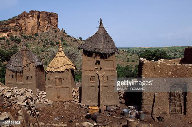Three granaries and a house in the Dogon village of Banani Bandiagara Escarpment Mopti Mali