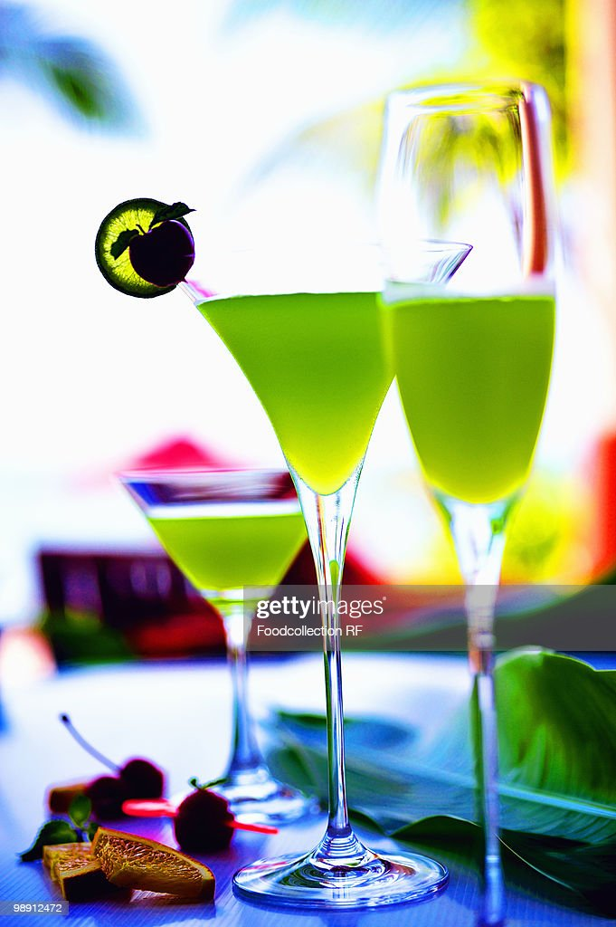 Three green vodka cocktails closeup stock photo getty images for Green cocktails with vodka
