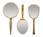 Three hand mirrors on white with soft shadow.